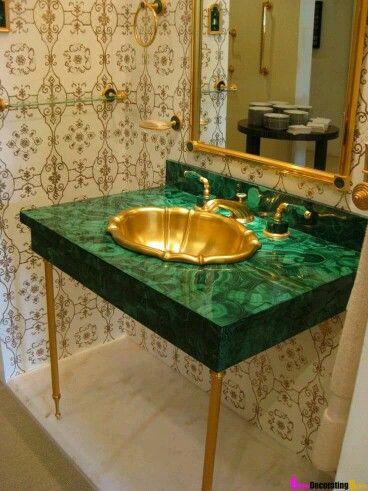 Gold Faucet Bedroom Marble Countertops Bathroom Green