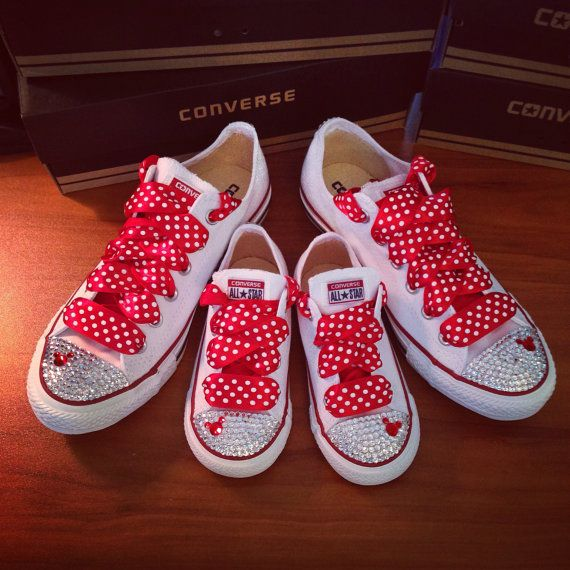 ea012de399cfc4 This listing is for one adult and one toddler pair of matching Minnie Mouse  Bling Converse.