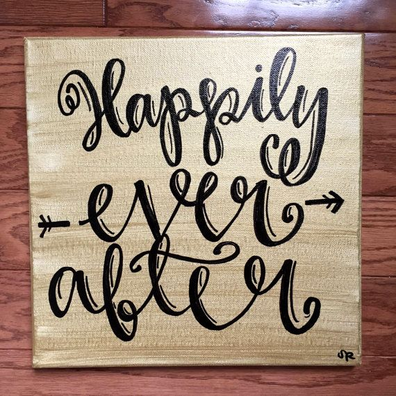 Happily Ever After Canvas Painting Happily Ever After Art Gold Wall Art Love Wall Hanging Modern Callig Gold Wall Art Art Gallery Wall Canvas Painting
