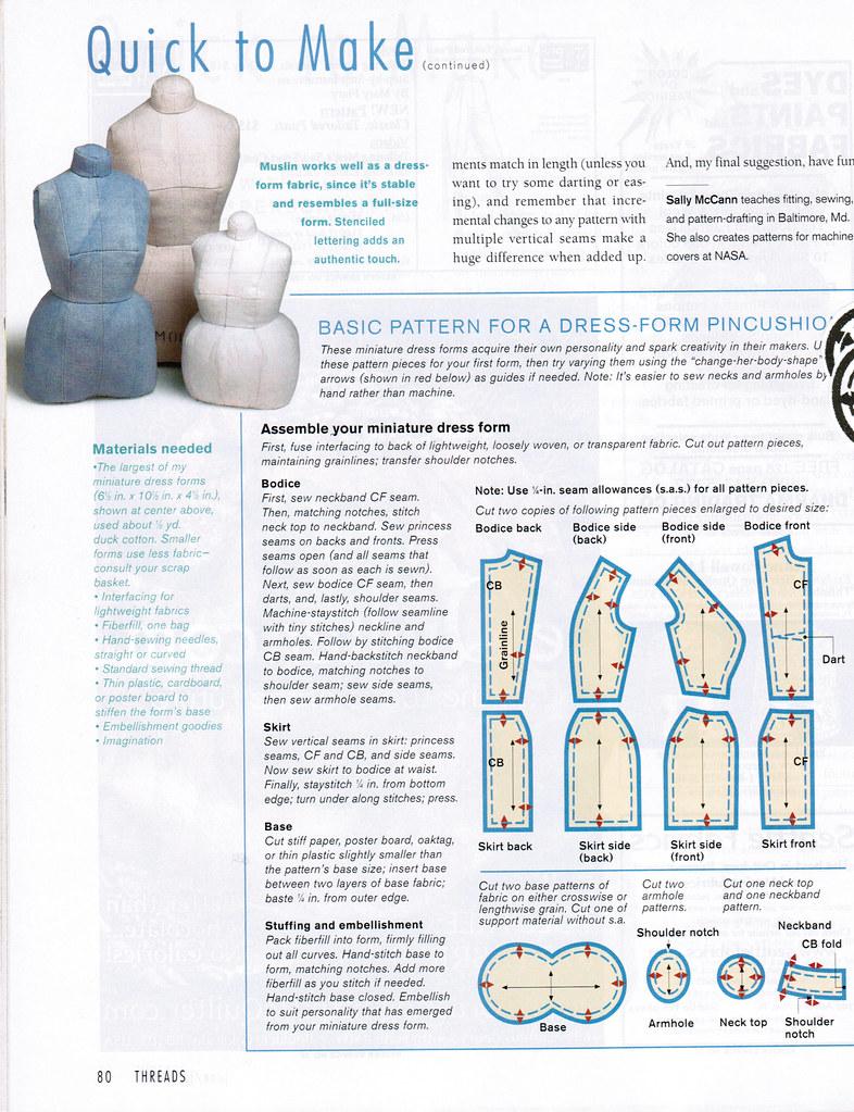 Threads 91 Dress Form Pincushion Pattern In 2020 Pin Cushions Patterns Pin Cushions Sewing Tutorials