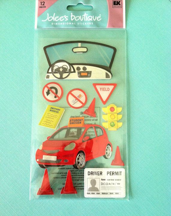 Learning to Drive Sticker Card Making Scrapbooking New Driver Sports Car Traffic
