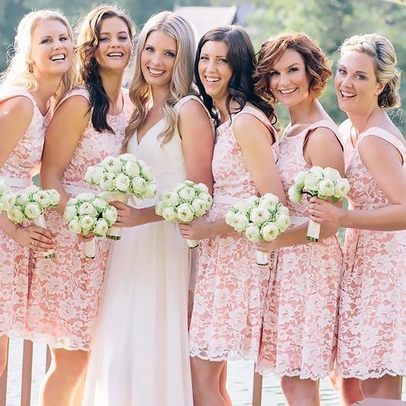 7ed2a5bed6 Short Pink Jewel Sleeveless Lace Bridesmaid Dress with Sash ...