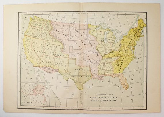 1894 Vintage US Map, United States Map Territory Growth, US ...