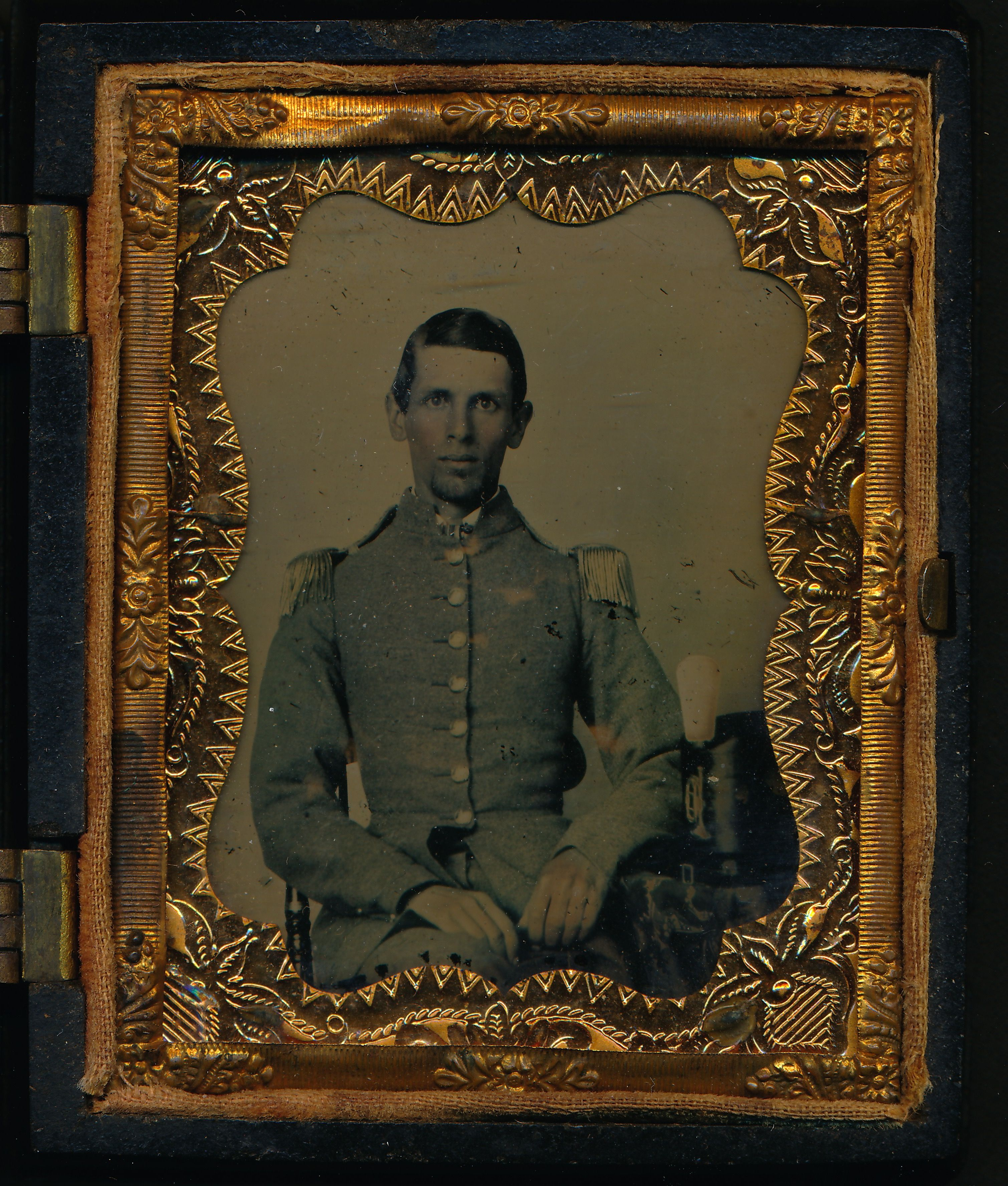 Early war ninth plate ambrotype of 2nd Lieutenant Henry B ...
