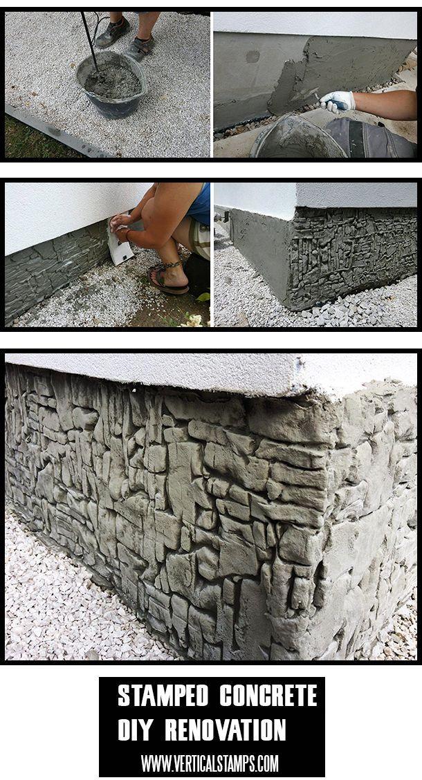 Renovierungshaus Fundament Sockel mit vertikalen Stempeln aus Betonsilikon #stampmaking