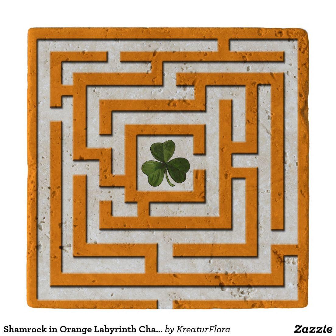 Shamrock in Orange Labyrinth Challenge Stone Trivet