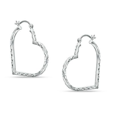 Sterling Silver Diamond Cut Heart Hoop Earrings Paa Com