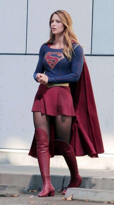 Melissa Benoist – On the set of 'Supergirl' in Los Angeles