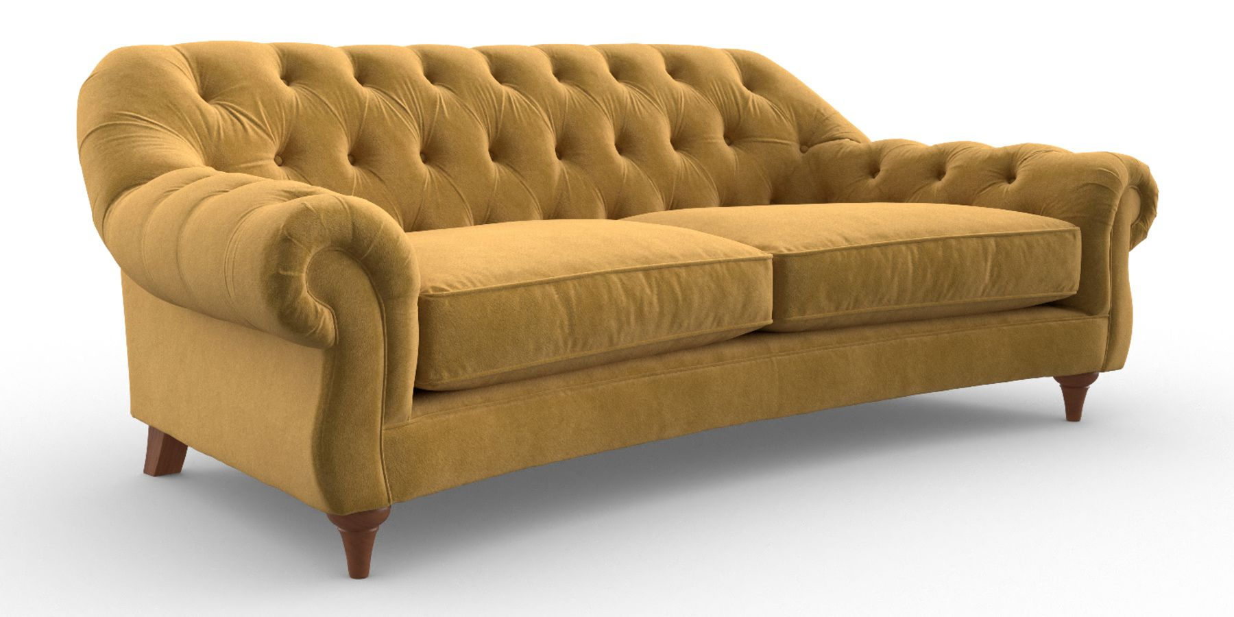 Buy portofino large sofa 3 seats matt velvet mustard