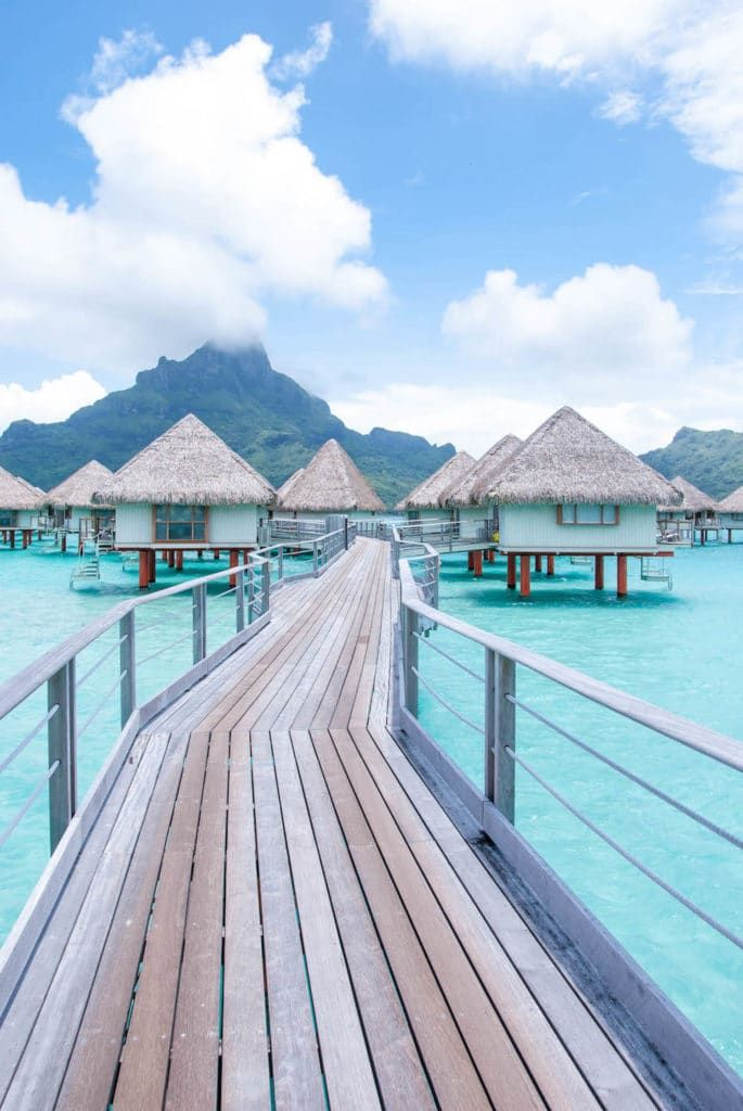 Exploring the island of Bora Bora while swaying in an overwater bungalow. The views of the island are so magical, with water the color of turquoise.