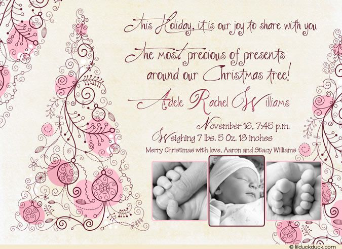 1000 images about New Baby Christmas Card Ideas – Baby Girl Announcement Ideas