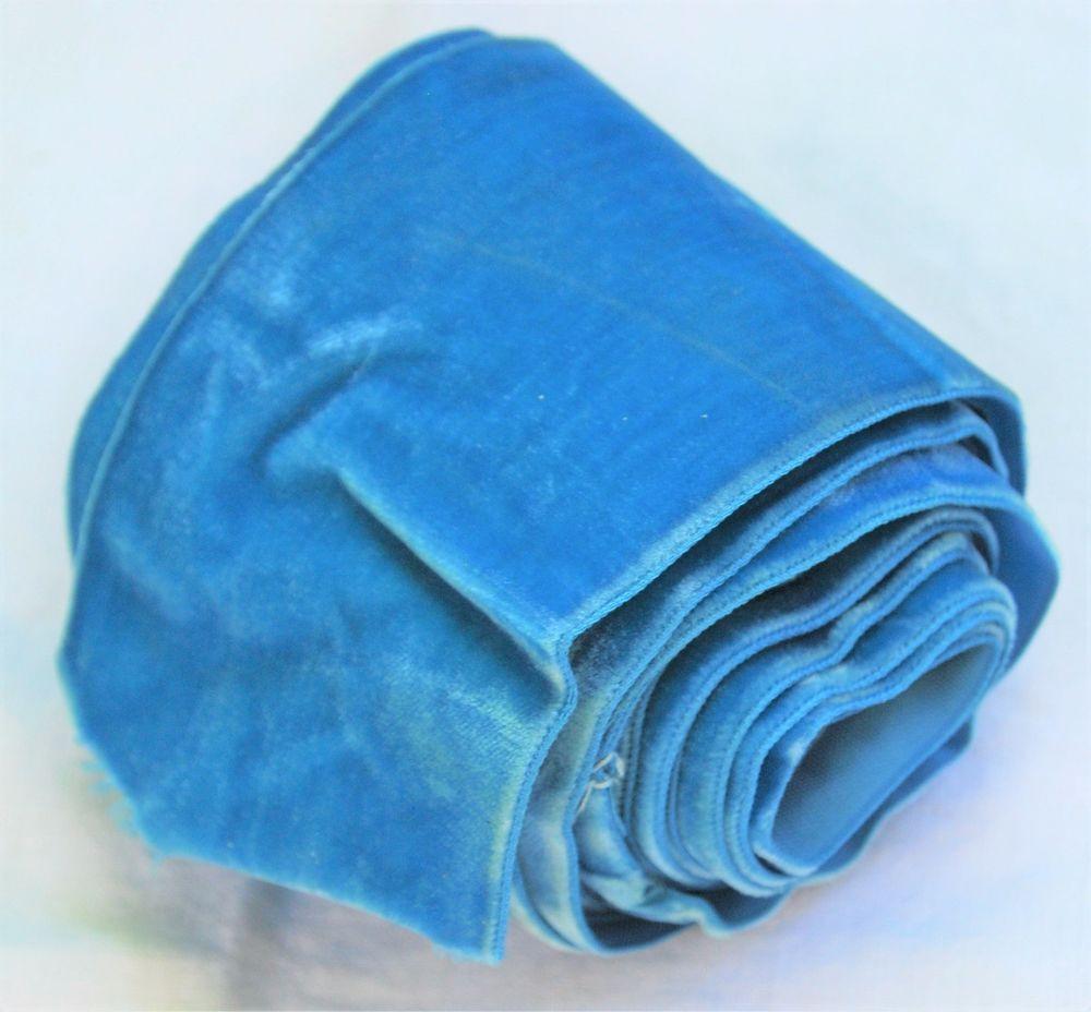 Vintage Blue Velvet Ribbon,3 inch wide,Nearly 3 yards,Sash,Wedding ...