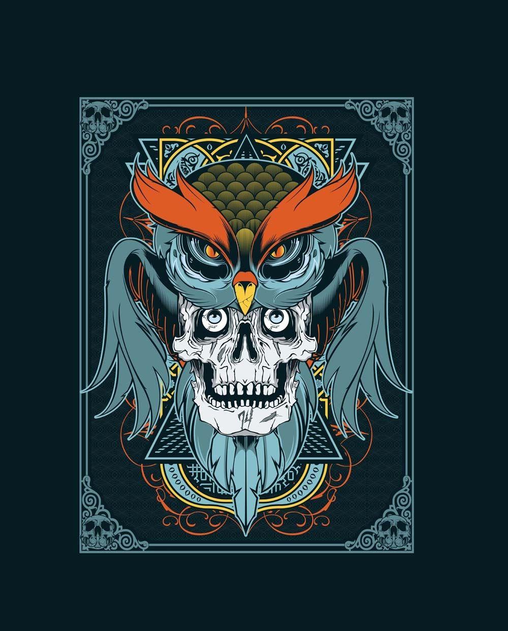 Design a Tshirt in Illustrator using owl and skull vector