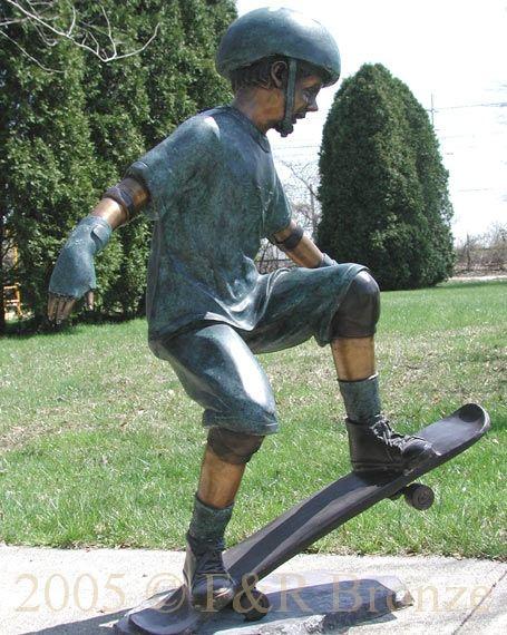Boy Skateboarding bronze statue