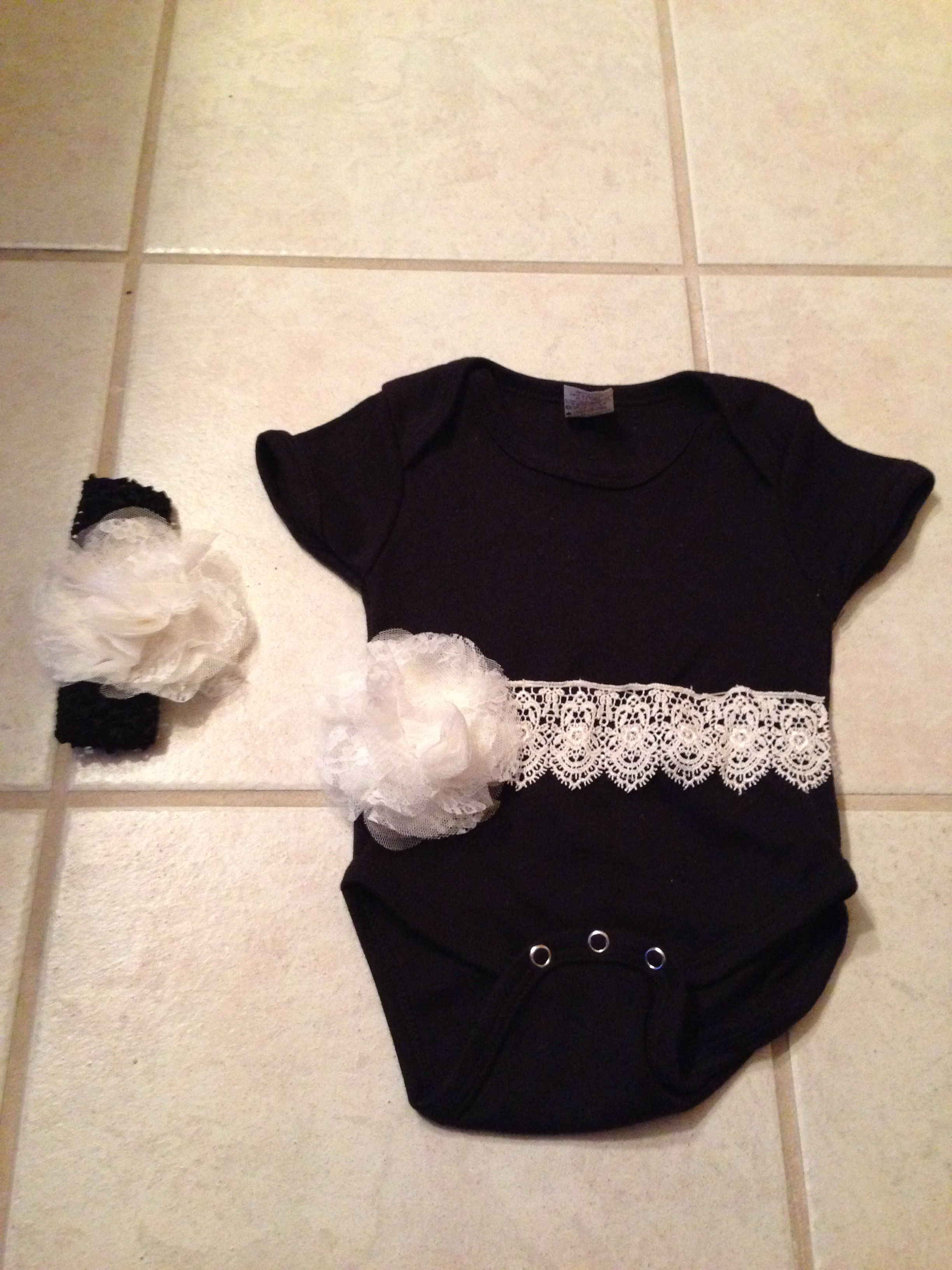 Black onesie from Hobby Lobby and lace. Matching headband with bow to match.