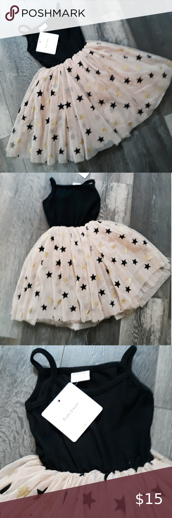 Girl S Dudu Cream Tulle Star Dress 3 4t Nwt A New With Tag Girls Fun Dress Dudu Cream Brand Black Tank With Attached Pin Star Dress Kids Dresses Cream Tulle [ 1740 x 580 Pixel ]