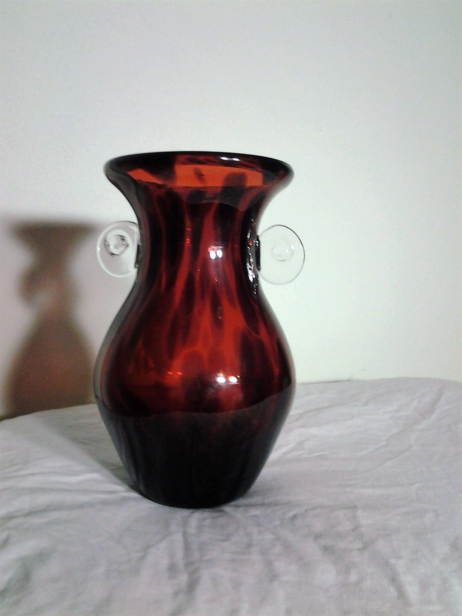 Pin by old vintage treasures on vintage vases for sale pinterest vintage red glass vase with dark spots and stripes reviewsmspy