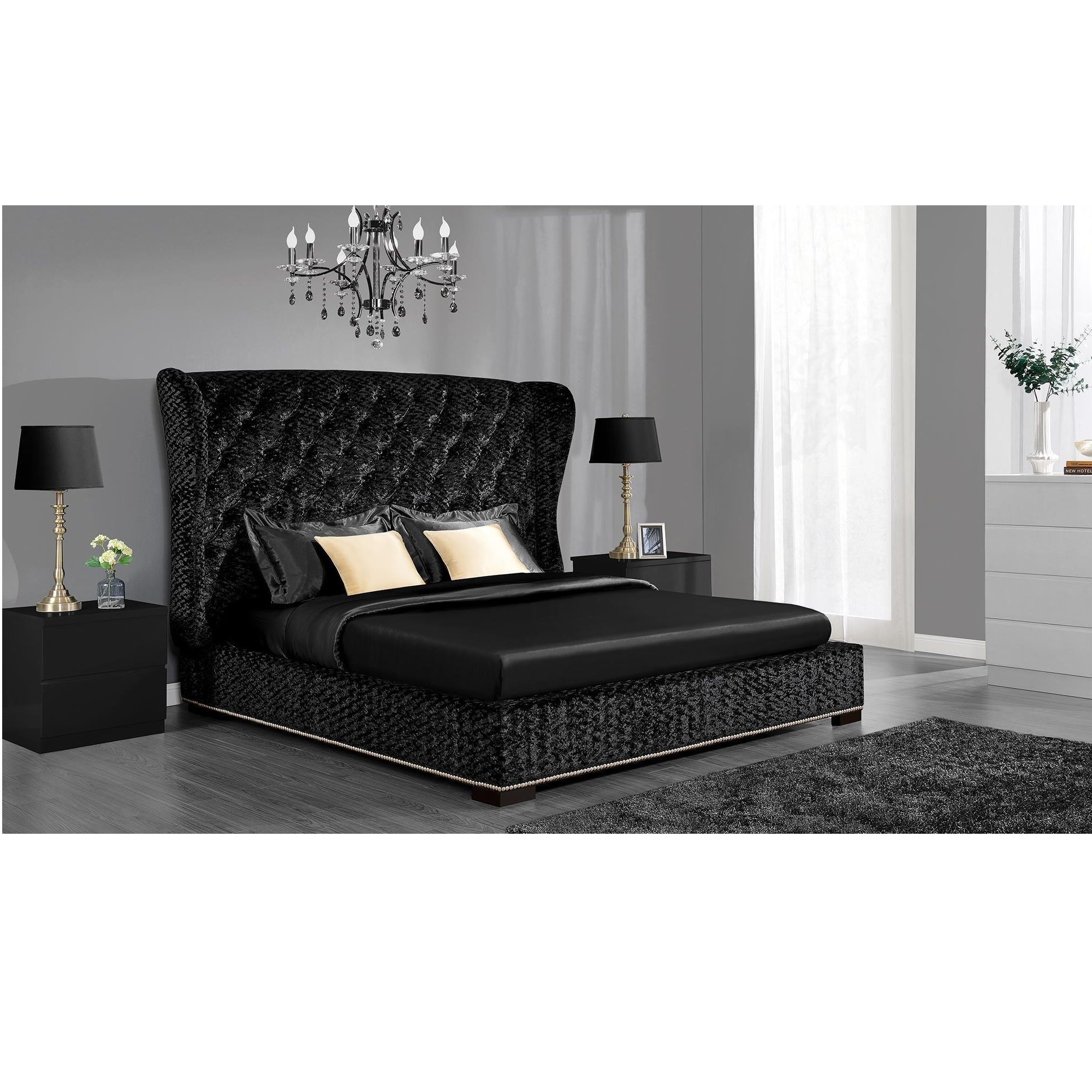 DHP Luxe Premium Velvet Upholstered Bed   Overstock  Shopping   Great Deals  on DHP Beds. This striking Luxe bed is guaranteed to be the focal point of your