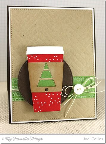 Perk Up, Coffee Cup Die-namics, Horizontal Stitched Strips Die-namics, Stitched Circle Die-namics, Tag Builder Blueprints 2 Die-namics, Herringbone Bricks Stencil - Jodi Collins #mftstamps