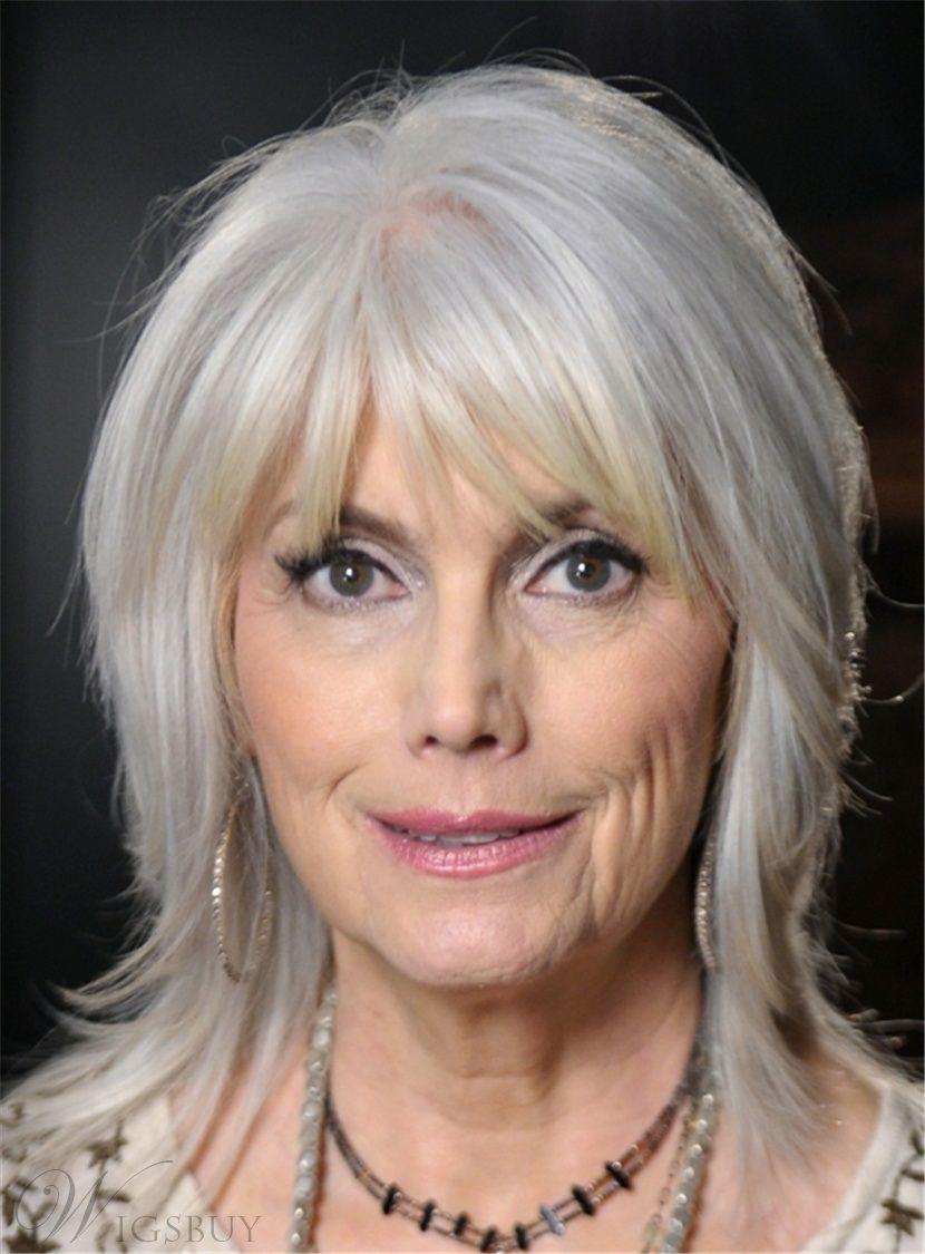 Medium Straight Synthetic Hair Capless Wigs for Older Women