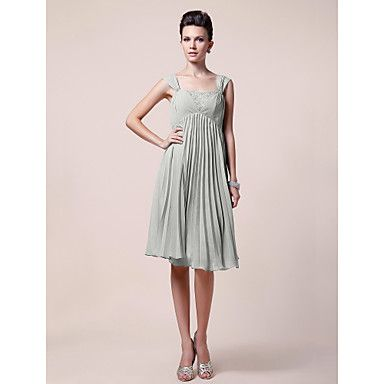 A-line Straps Knee-length Chiffon Mother of the Bride Dress – GBP £ 92.28