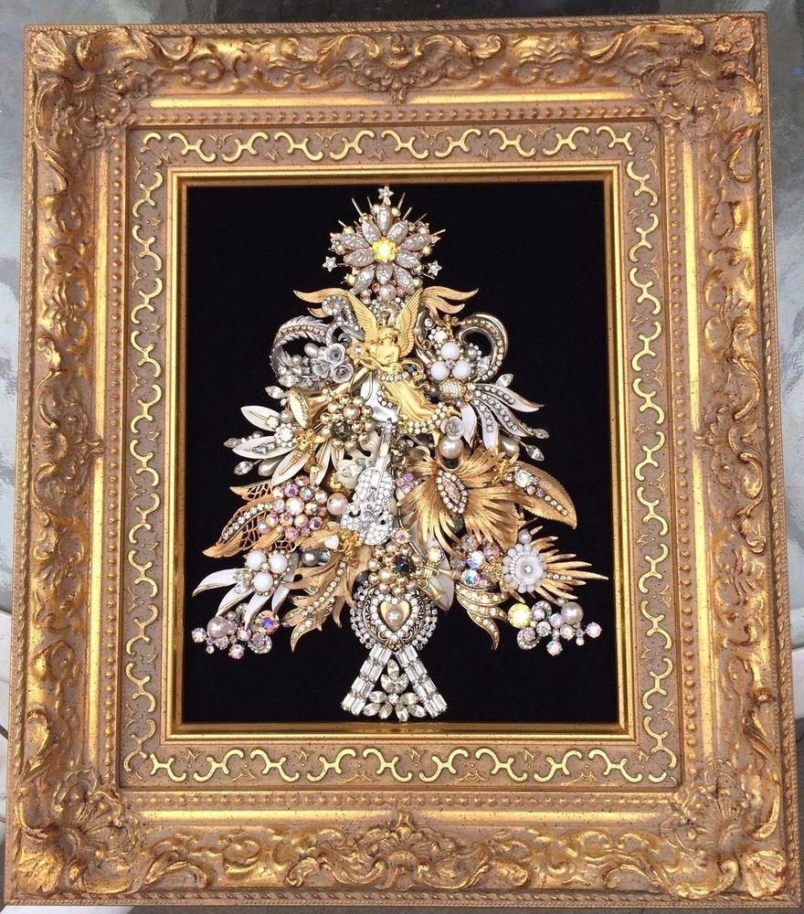 rhinestone jewelry framed christmas tree art ~ angels violin pins ooak
