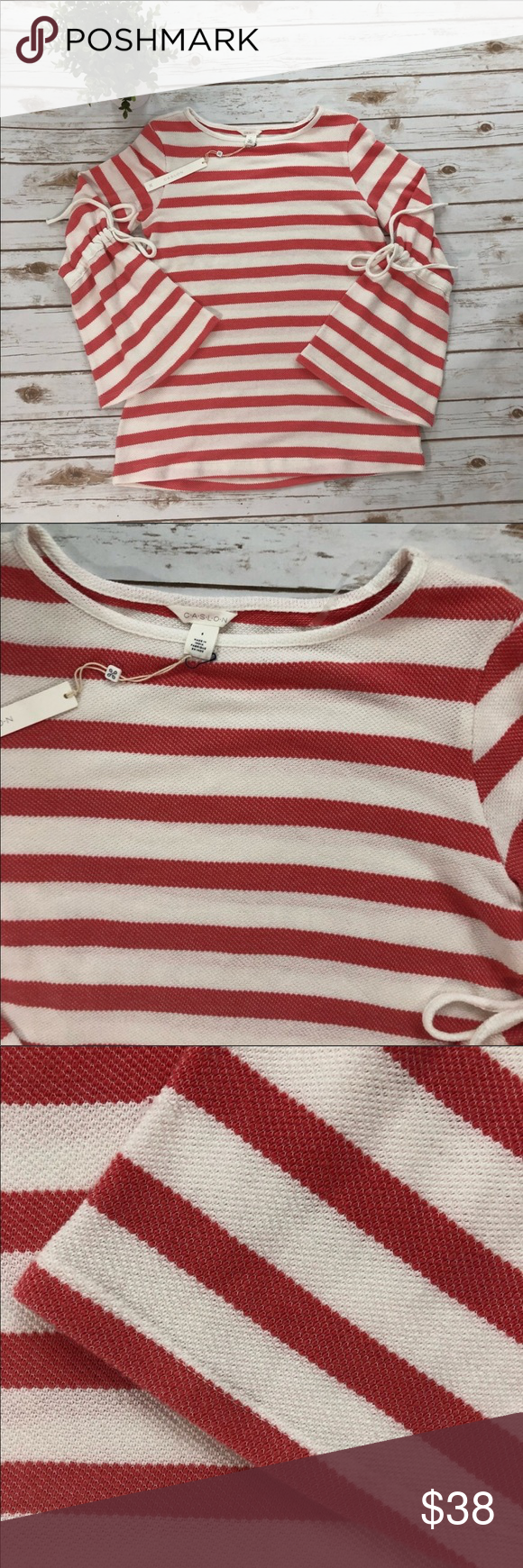 21adcc243 CASLON NWT coral   white striped sweater NWT