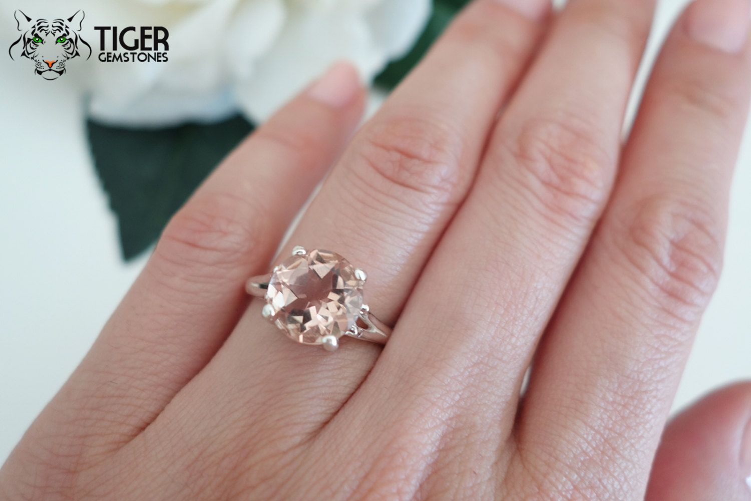 4 Carat Round Cut Solitaire Ring, Man Made Peach Morganite ...