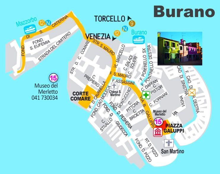 Carte Italie Burano.Burano Tourist Map Maps Globes Venice Map Tourist Map