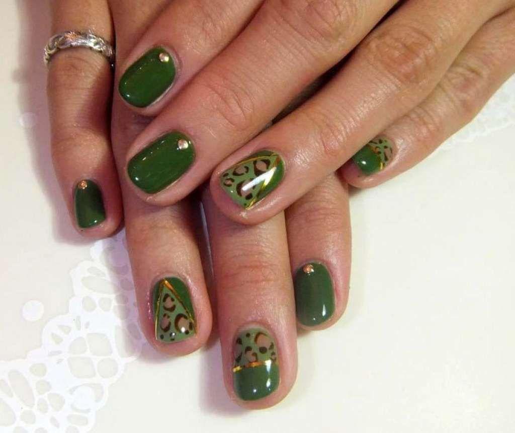Short glossy green nail art with rhinestones and leopard print :: one1lady.com :: #nail #nails #nailart #manicure