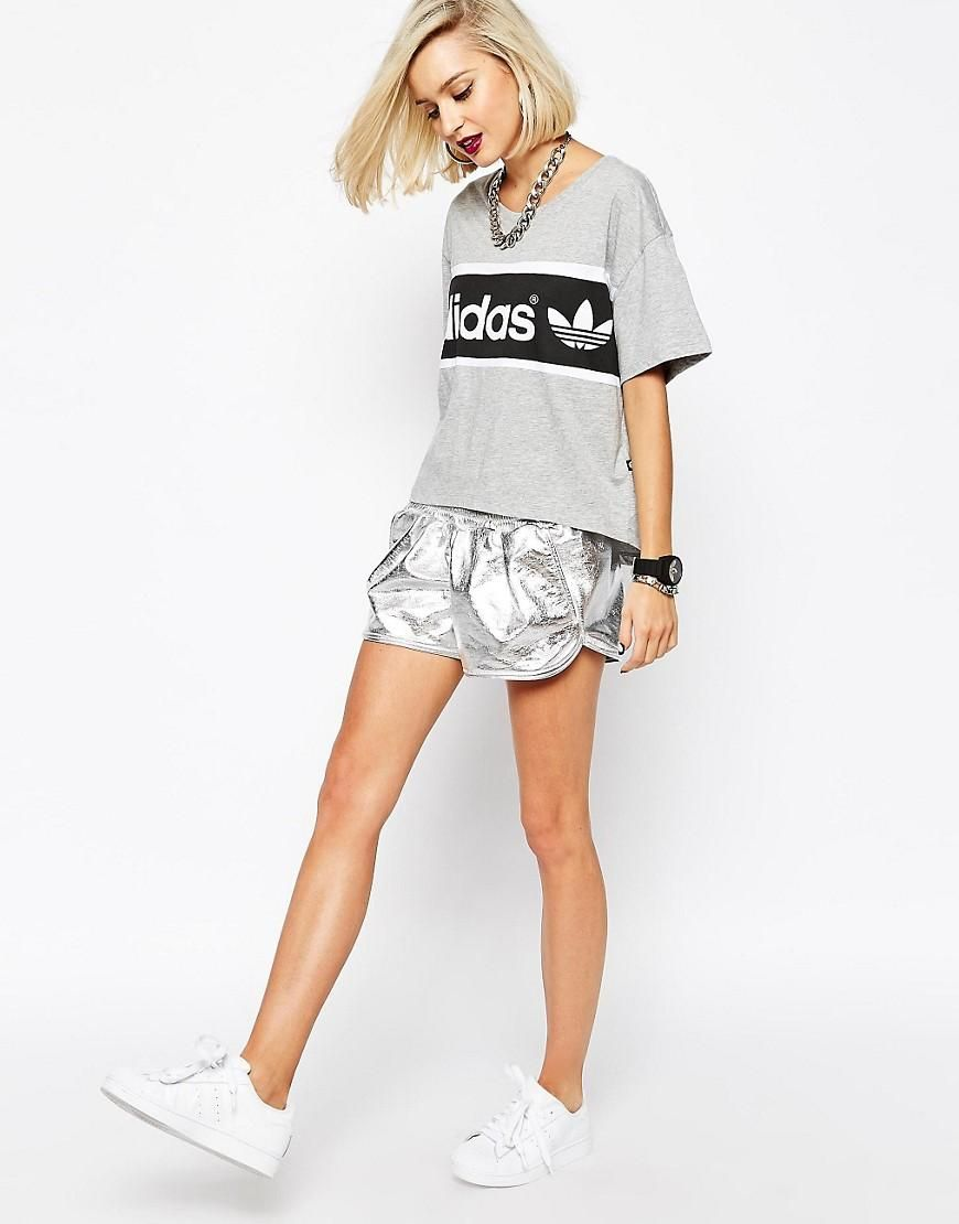 sneakers for cheap many styles new arrivals adidas | adidas Originals – Metallic-Shorts bei ASOS ...