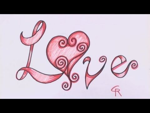How To Draw Love In Fancy Letters Curly Letters With A Heart Cc