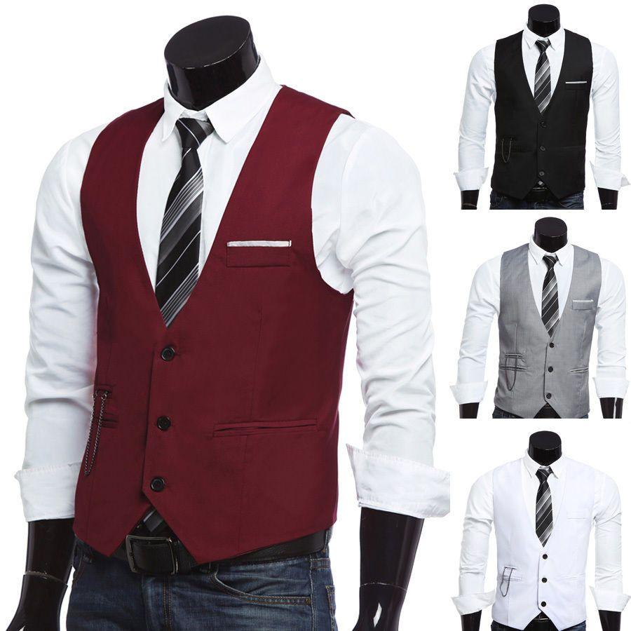 For men fashion men slim fit formal casual dress vest dress suit