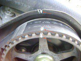 cc    alignment rotate engine  crankshaft pulley bolt apply paint marks