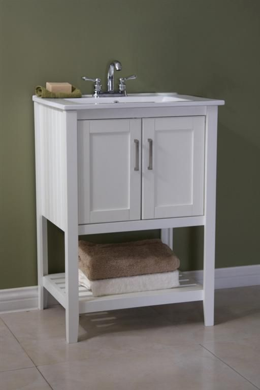 Legion 24 Inch Traditional Bathroom Vanity White Finish Without Faucet 3 Pre Drilled Holes For 4 Ceramic Sink