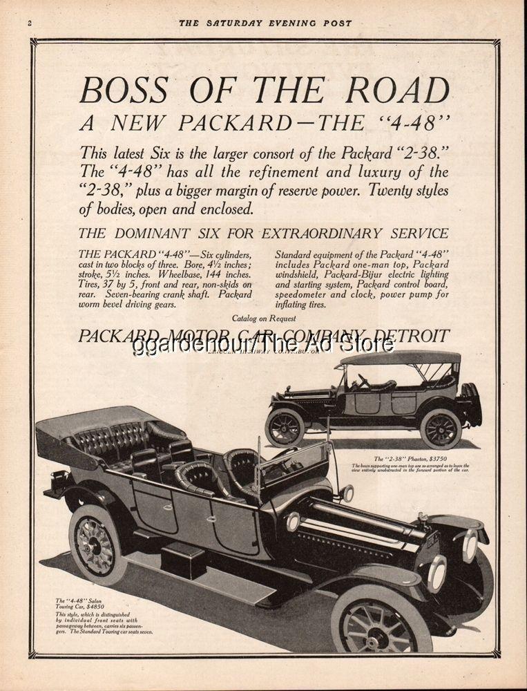 1914 Packard Motor Car Company Detroit MI 2-38 Phaeton 4-48 Sedan ...