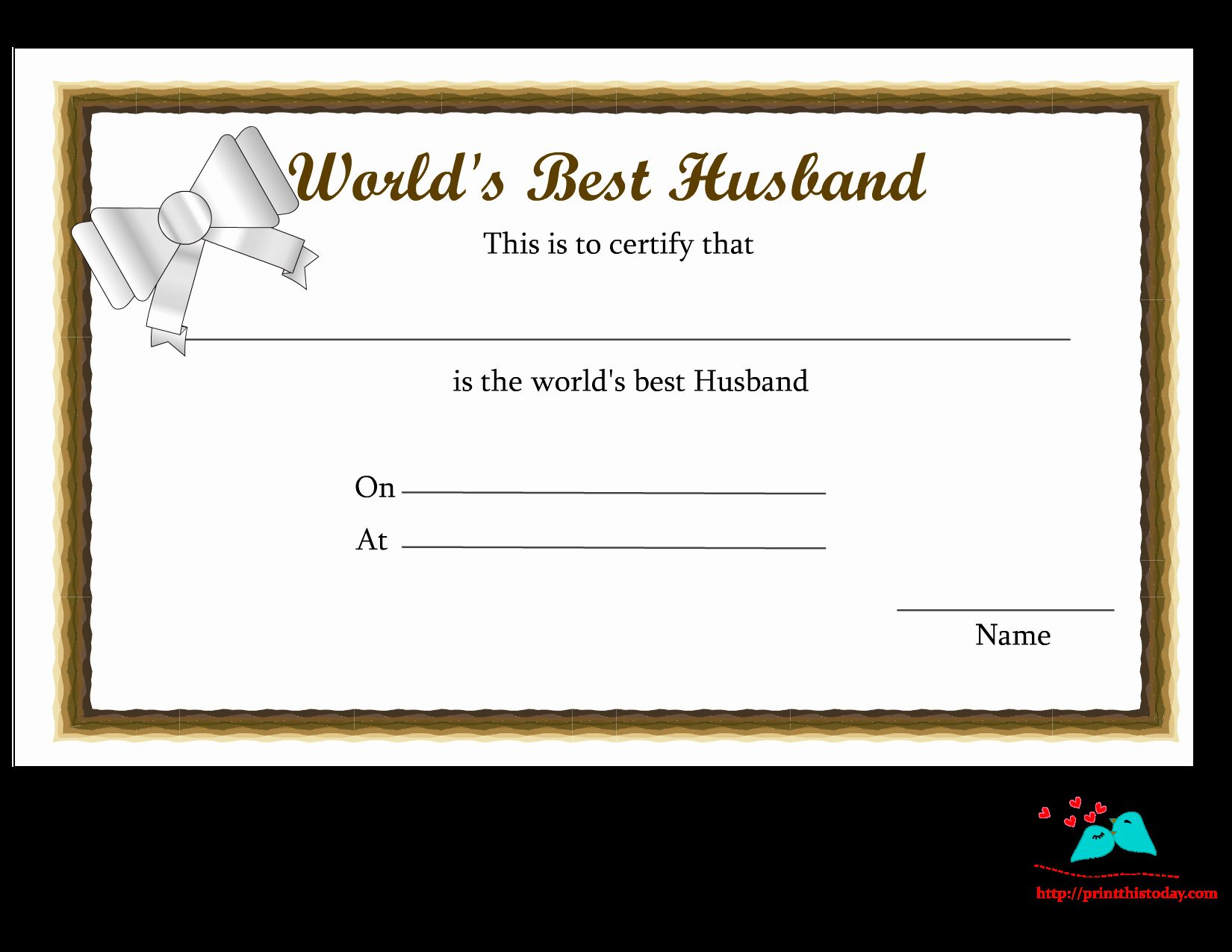 Best Wife Award Certificate Lovely Free Printable World S Best Husband Certificates Business Template Template Free Templates