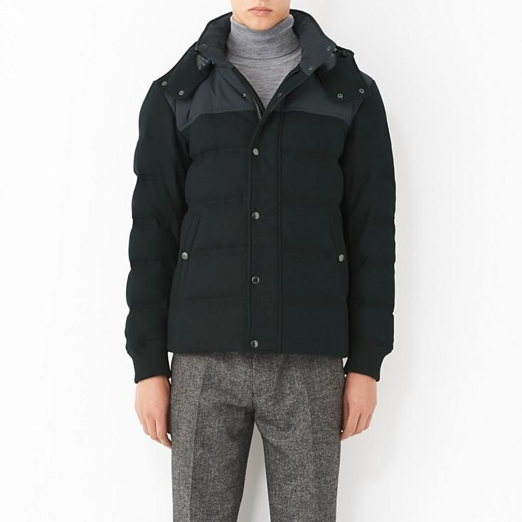 MEN WOOL BLENDED DOWN SHORT JACKET | Men's Jacket Coat | Pinterest