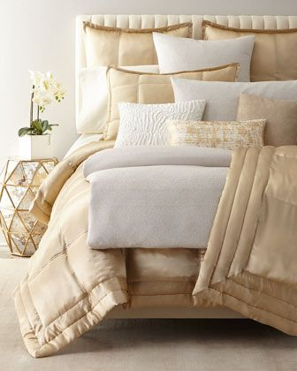 Reflection Standard Quilted Silk Sham Luxury Bedding Sets Bed Retro Bed