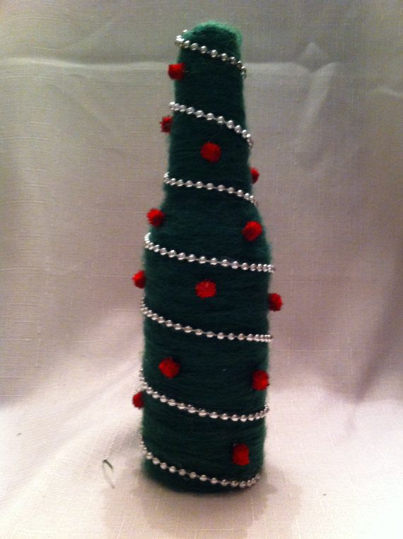 Decorate Beer Bottles For Christmas Cool Yarn Covered Recycled Beer Bottle Christmasjsstringdesigns Design Decoration