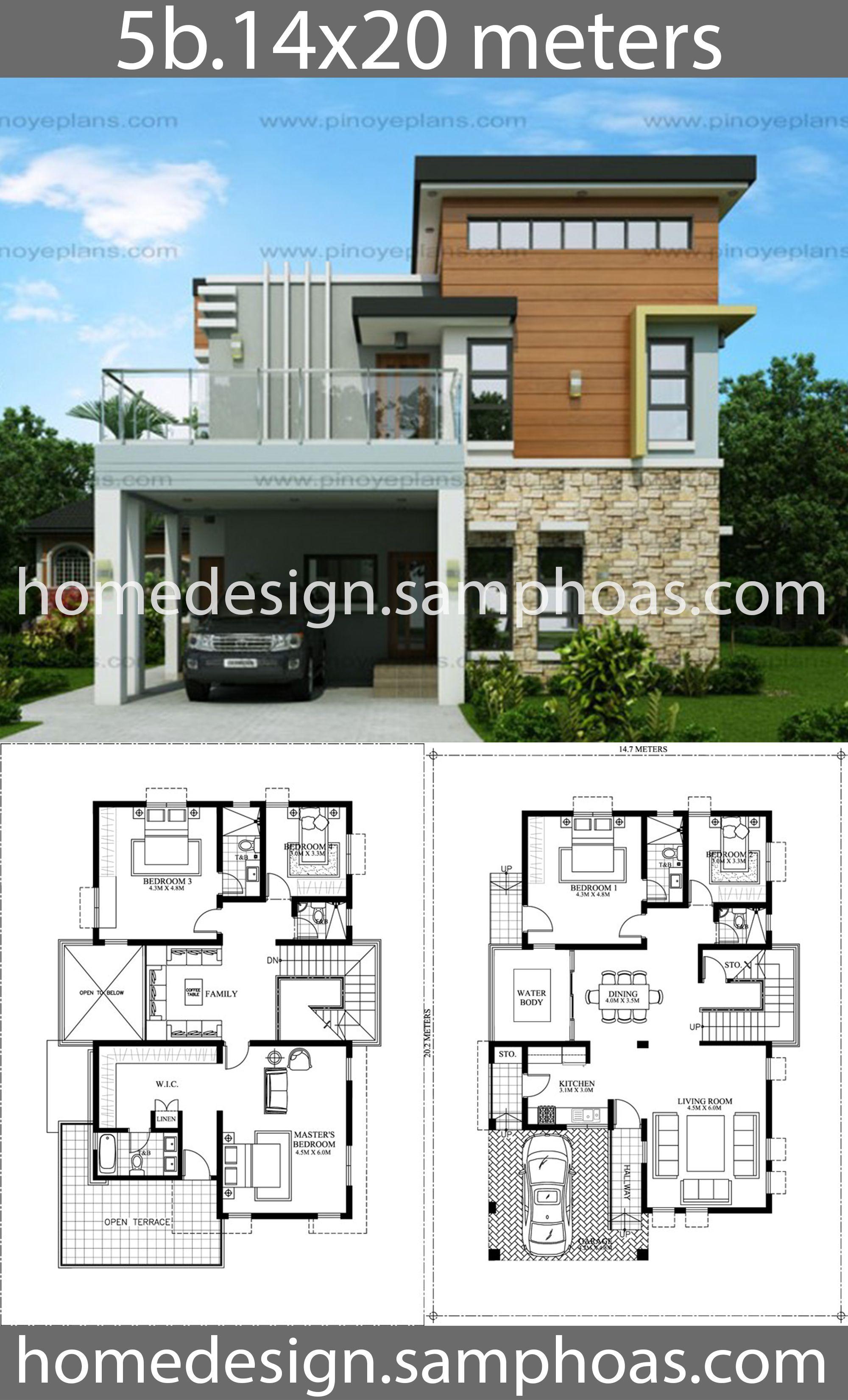 House Design Plans 14x20m With 5 Bedrooms House Idea Arsitektur Denah Desain Rumah Denah Rumah
