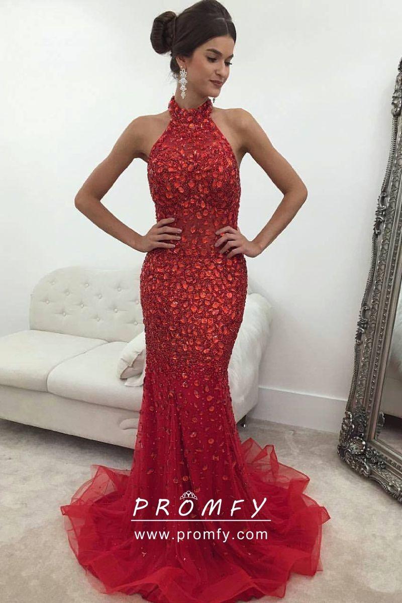 03c7ea75aca6 Sparkly red rhinestone diamond embellished tulle mermaid floor length prom  dress / pageant dress. Sleeveless halter high neckline.
