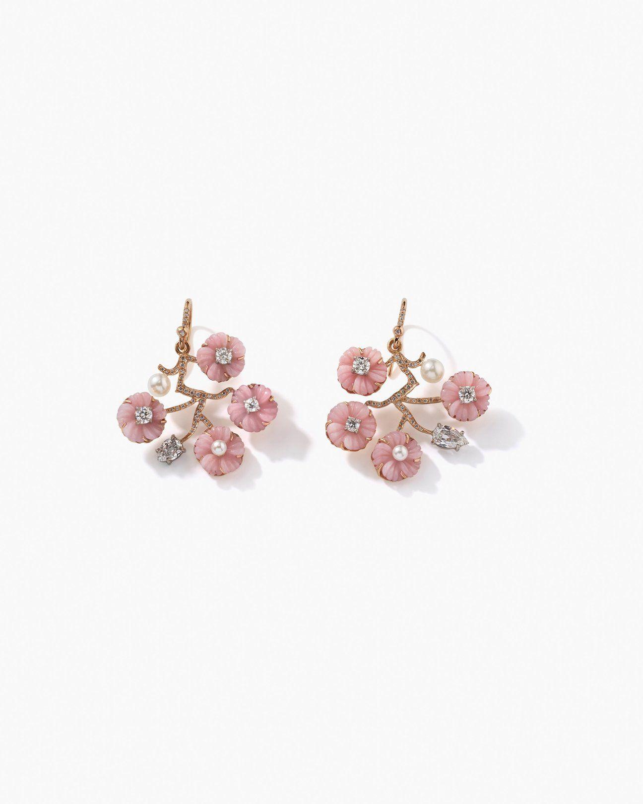 Earrings Girls or Women Yellow Gold 18/ktes Flowers Pearl