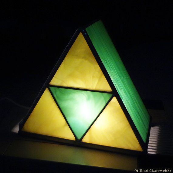 On Sale: Zelda Triforce Table Lamp   Green Yellow Stained Glass   Custom  Colors Available