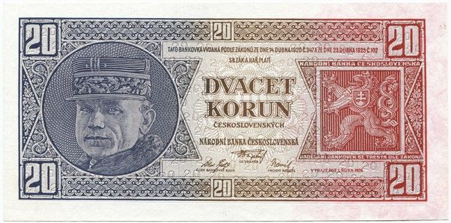 20 Korún ceskoslovenských 1926 (Stefanik)