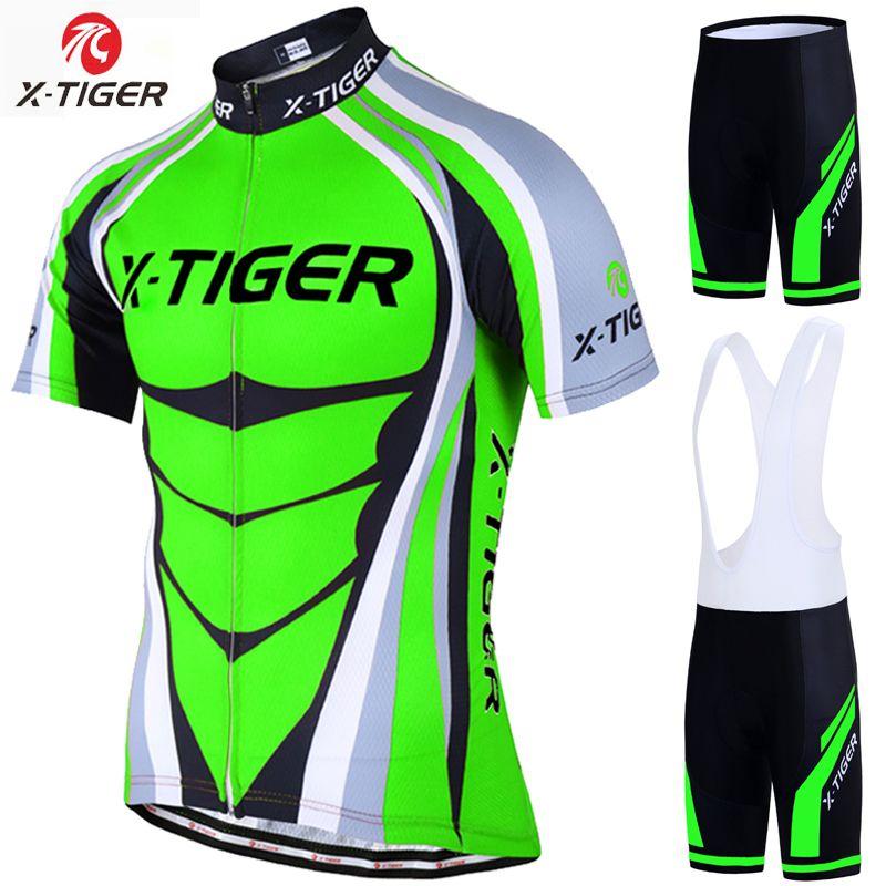 X-Tiger 2018 Cycling Jersey set Neon Green MTB Bike Clothes Summer Bicycle  Clothing Cycling Set Maillot Conjunto Ropa Ciclismo 8751ea806