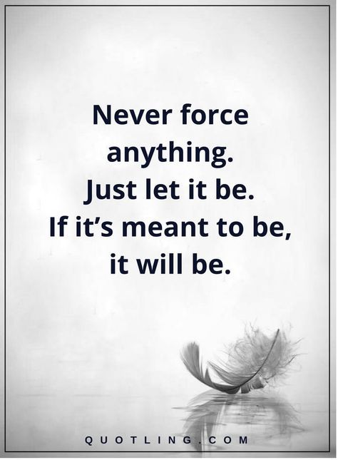 Life Lessons Never Force Anything Just Let It Be If It S Meant