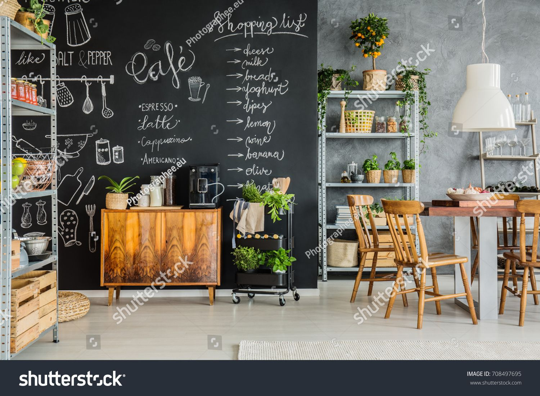 Chalkboard Dining Room Design In Modern Industrial Style Sponsored Spon Room Dining Chalk Chalkboard Wall Kitchen Kitchen Chalkboard Chalkboard Wallpaper