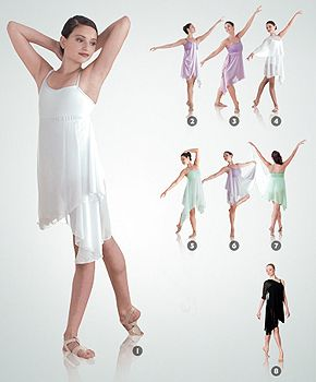 IN STOCK 7895 Bodywrappers CLEARANCE 8 Way Lyrical Ballet Dress WHITE AL