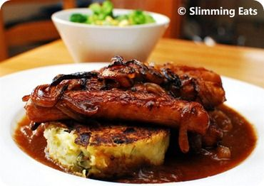 Sausages in Onion Gravy with Bubble and Squeak Patties | Slimming Eats - Slimming World Recipes
